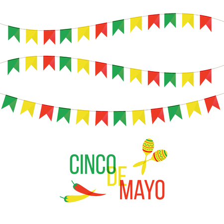 Cinco de Mayo mexican greeting card. Vector illustration with colorful flags, peppers and maracas.
