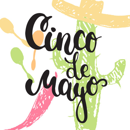 Cinco de Mayo mexican greeting card. Vector illustration with hand drawn sketch jalapeno, cactus, sombrero and maracas.