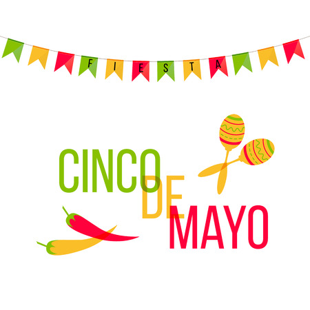 Cinco de Mayo mexican greeting card. Vector illustration with colorful flags and phrase Fiesta, jalapeno, cactus, sombrero and maracas.