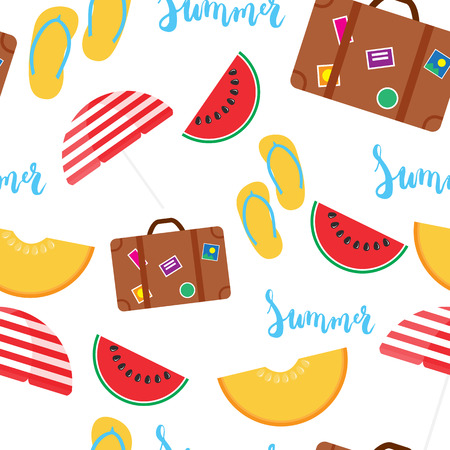 Summer seamless pattern with brush hand painted lettering phrase Summer isolated on the white background with colorful watermelon, melon, step-ins, parasol, suitcase icons.