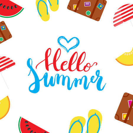 Hello Summer brush hand painted lettering phrase isolated on the white background with colorful watermelon, melon, step-ins, parasol, suitcase icons.