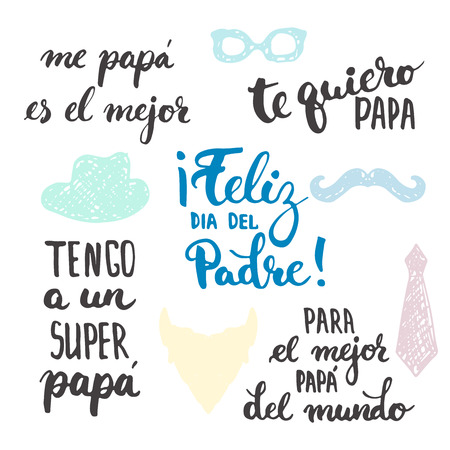 Fathers day lettering calligraphy phrases set in Spanish Feliz dia del Padre, Tengo a un Super, Papa, Te quiero, Papa, Me papa es el mejor, Para el mejor Papa del mundo. Fathers Day lettering.