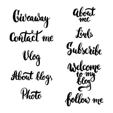giveaway: typography lettering phrase Giveaway, Photo, Vlog, Contact me, Follow me, About blog, Subscribe, Links for social media or blogging . Modern calligraphy for your blog or vlog design.
