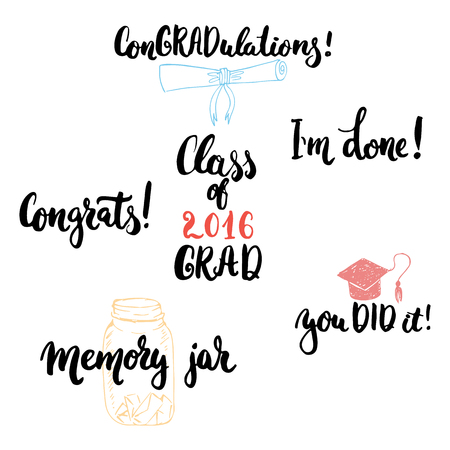 typography lettering phrases set to Class of 2016 GRAD . Modern calligraphy for typography greeting and invitation card for Graduation. Illustration