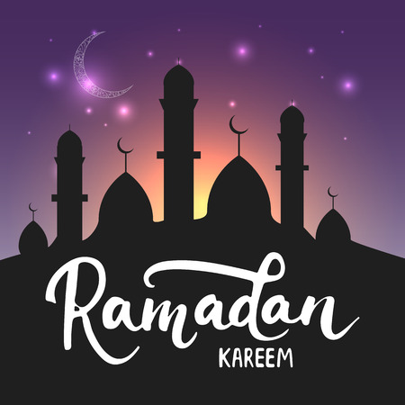mosque illustration: Ramadan Kareem shiny greeting card background with moon, lanterns, lettering and mosque. illustration for Ramadan - holiest month in the Islamic calendar for Muslims.