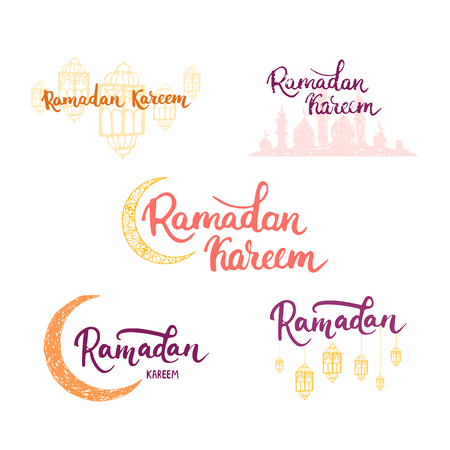 holy place: Ramadan Kareem greeting cards set background with moon, lanterns, lettering and mosque. illustration for Ramadan - holiest month in the Islamic calendar for Muslims. Illustration