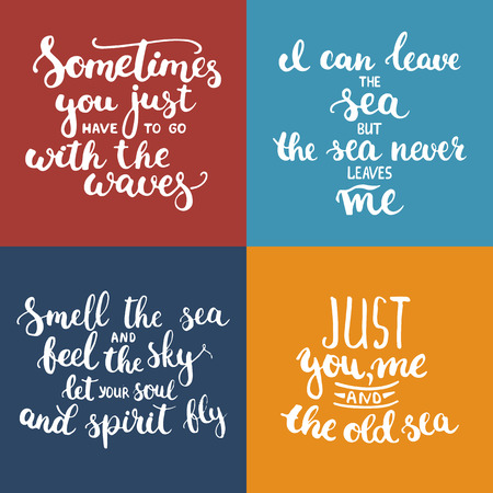 phrases: typography lettering phrases set about sea, ocean and summer time. Modern calligraphy for typography greeting and invitation card for sea summer beach party.