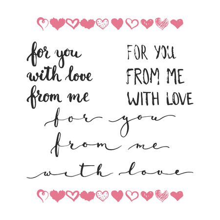 wedding photo album: Set of  phrases about love: for you, from me, with love. Photo overlays signs. Wedding photo album and greeting cards lettering. Illustration