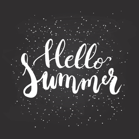Hand drawn phrase Hello Summer isolated on the chalkboard background. Hand lettering calligraphy greeting card or invitation for summer party template. Vector texture.