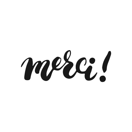 Hand drawn typography lettering phrase Merci isolated on the white background. Fun calligraphy for typography greeting and invitation card or t-shirt print design. Stock Illustratie
