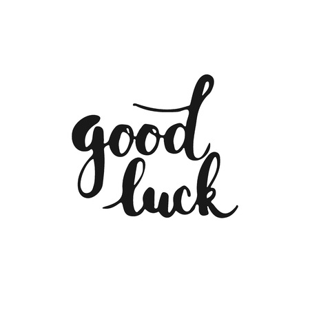 Hand drawn typography lettering phrase Good Luck isolated on the white background. Fun calligraphy for typography greeting and invitation card or t-shirt print design. Иллюстрация