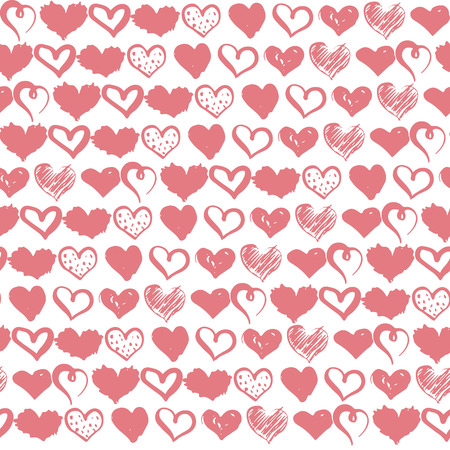 Seamless pattern with hand drawn hearts background. Monochrome brush ink illustration with hearts.