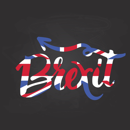 yes or no to euro: Brexit hand lettering text with United Kingdom flag and EU flag. Vector background about referendum in Great Britain.
