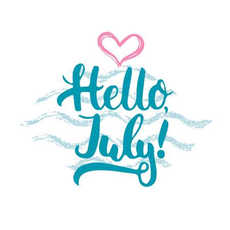 hello heart: Hand drawn typography lettering phrase Hello, july isolated with heart and waves on the white background. Fun calligraphy for typography greeting and invitation card or t-shirt print design.