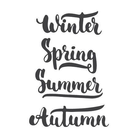four season: Four season ink lettering brush sign - Winter, Spring, Summer, Autumn isolated on the white background.