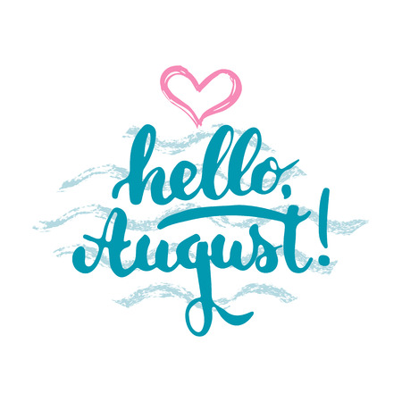 hello heart: Hand drawn typography lettering phrase Hello, august isolated with heart and waves on the white background. Fun calligraphy for greeting and invitation card or t-shirt print design
