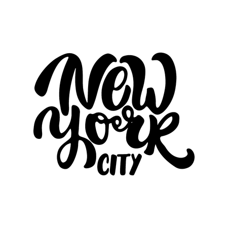 New york city - hand drawn lettering phrase isolated on the white background. Fun brush ink inscription for photo overlays, greeting card or t-shirt print, poster design.