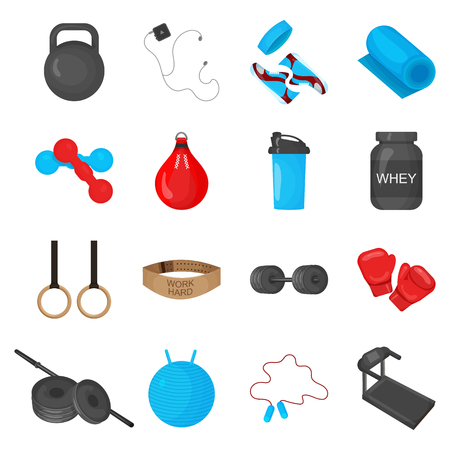 flayers: Flat trendy color icons set with sport equipments elements for gym or fitness club flayers