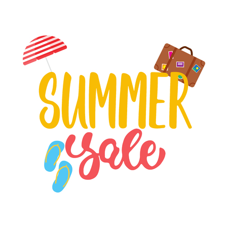 Summer sale - hand drawn lettering phrase isolated on the white background with umbrella, suitcase, step-ins. Advertising template for banner, shop and store poster design and season flyers