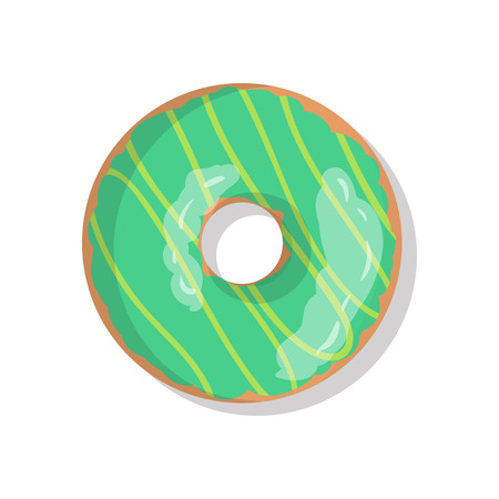 sprinkles: Tasty green sweet donut icon with sprinkles isolated on white background. Top view illustration of doughnut for your cafe, restaurant, shop flyer and banner