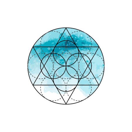alchemist: Symbol of alchemy and sacred geometry on the blue watercolor background. Linear character illustration for lines tattoo on the white isolated background