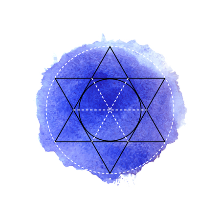 sanskrit: Symbol of alchemy and sacred geometry on the dark blue watercolor background. Linear character illustration for lines tattoo on the white isolated background