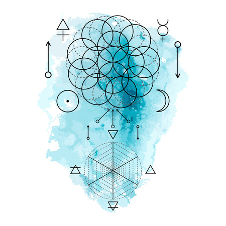 Symbol of alchemy and sacred geometry on the blue watercolor background. Linear character illustration for lines tattoo on the white isolated background