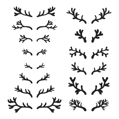 horny: Set of hand drawn deer horns black on the white background, silhouette of antlers.