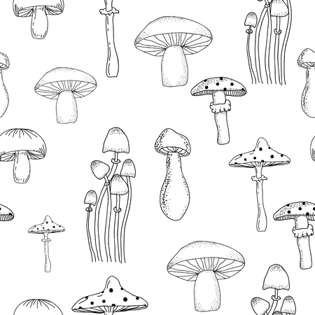 Black and white seamless pattern with different mushrooms isolated on the background. Illustration for textile, print, wrapping paper, website