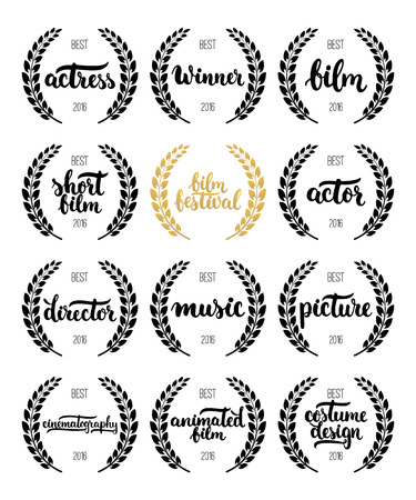famous actor: Set of awards for best film, actor, actress, director, music, picture, winner and short film with wreath and 2016 text. Black and golden color film award wreaths isolated on the white background
