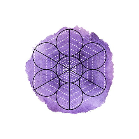 sanskrit: Symbol of alchemy and sacred geometry on the violet watercolor background. Linear character illustration for lines tattoo on the white isolated background Illustration