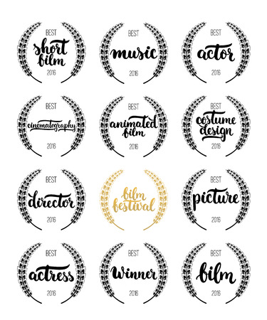 famous actress: Set of awards for best film, actor, actress, director, music, picture, winner and short film with wreath and 2016 text. Black and golden color film award wreaths isolated on the white background