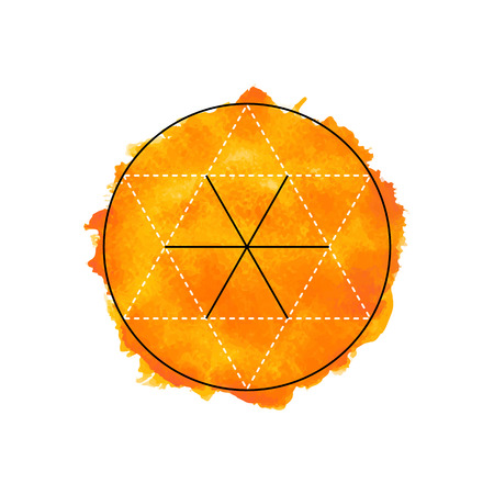 Symbol of alchemy and sacred geometry on the orange watercolor background. Linear character illustration for lines tattoo on the white isolated background