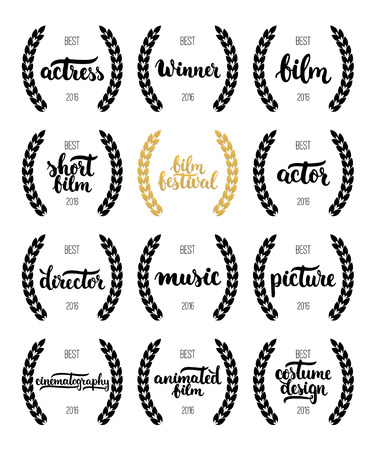 actress: Set of awards for best film, actor, actress, director, music, picture, winner and short film with wreath and 2016 text. Black and golden color film award wreaths isolated on the white background