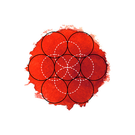 Symbol of alchemy and sacred geometry on the red watercolor background. Linear character illustration for lines tattoo on the white isolated background