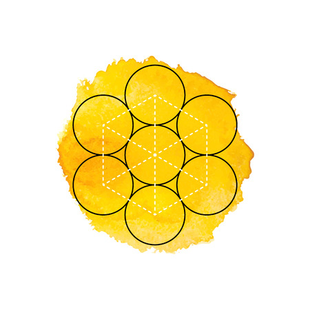 sanskrit: Symbol of alchemy and sacred geometry on the yellow watercolor background. Linear character illustration for lines tattoo on the white isolated background