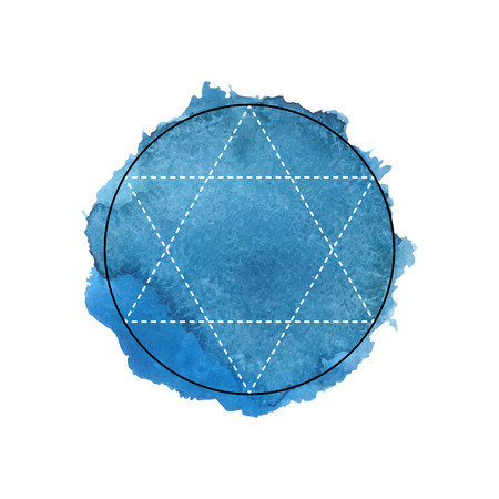 sanskrit: Symbol of alchemy and sacred geometry on the blue watercolor background. Linear character illustration for lines tattoo on the white isolated background