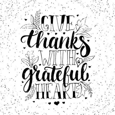 感謝感謝の心 - 書道フレーズをレタリング感謝祭を与えます。秋のグリーティング カードは、白い背景で隔離。 写真素材 - 63783818