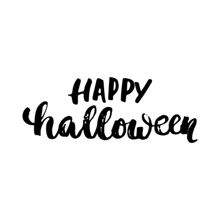 overlays: Happy Halloween- Halloween party hand drawn lettering phrase, isolated on the white. Fun brush ink inscription for photo overlays, typography greeting card or t-shirt print, flyer, poster design