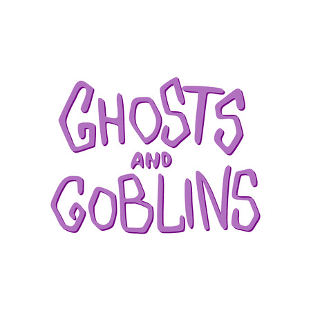 goblins: Ghosts and goblins - Halloween party hand drawn lettering phrase, isolated on the white. Fun brush ink inscription for photo overlays, typography greeting card or t-shirt print, flyer, poster design