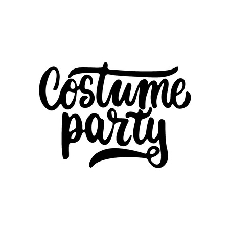costume party: Costume party - Halloween party hand drawn lettering phrase, isolated on the white. Fun brush ink inscription for photo overlays, typography greeting card or t-shirt print, flyer, poster design