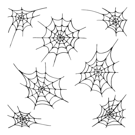 Set of seven spider web silhouette, isolated on the white background. Hand drawn elements for Halloween decoration Иллюстрация