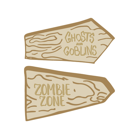 goblins: Two hand drawn wooden billboards isolated on the white background with inscriptions Ghosts and Goblins and Zombie zone. Halloween party elements