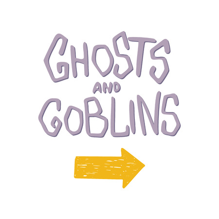 goblins: Ghosts and goblins - Halloween party hand drawn lettering phrase card. Fun brush ink typography greeting card, illustration for t-shirt print, flyer, poster design.