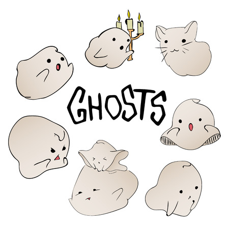 cute ghost: Cute ghost characters set. Halloween party hand drawn lettering and sketch card. Fun colorful greeting card, illustration for t-shirt print, banner, flyer, poster design Illustration