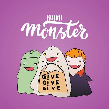 ミニモンスター - ハロウィーン パーティーは、ゾンビ、幽霊吸血鬼コスチュームに身を包んだ子供たちとレタリングやスケッチの描き下ろしカード  イラスト・ベクター素材