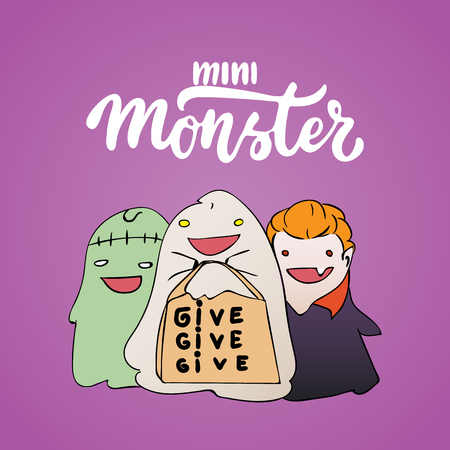 Mini monster - Halloween party hand drawn lettering and sketch card with children dressed in a vampire costume, ghosts, zombies. Fun illustration for t-shirt print, banner, flyer, poster design