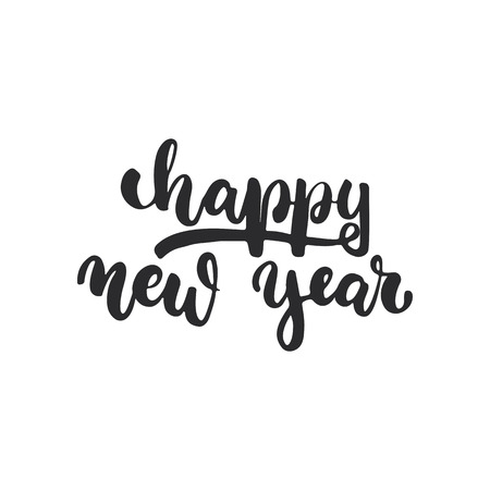 overlays: Happy new year - lettering Christmas and New Year holiday calligraphy phrase isolated on the background. Fun brush ink typography for photo overlays, t-shirt print, flyer, poster design Illustration