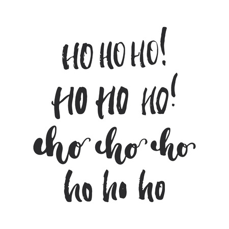 overlays: Ho Ho Ho - lettering Christmas and New Year holiday calligraphy phrase isolated on the background. Fun brush ink typography for photo overlays, t-shirt print, flyer, poster design