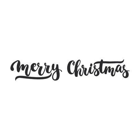 overlays: Merry Christmas - lettering Christmas and New Year holiday calligraphy phrase isolated on the background. Fun brush ink typography for photo overlays, t-shirt print, flyer, poster design